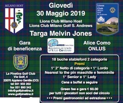 TARGA MELVIN JONES - L.C.Milano Host e L.C. Milano Golf St.Andrews