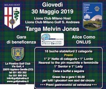 TARGA MELVIN JONES - L.C.Milano Host e L.C. Milano Golf St.Andrews