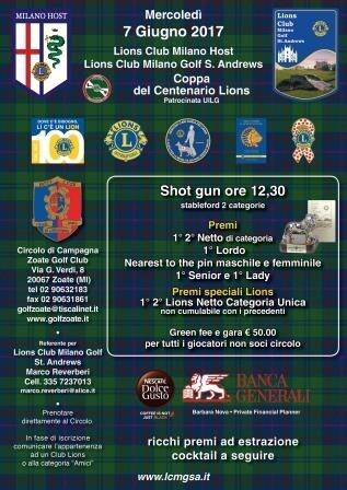 COPPA DEL CENTENARIO LIONS - L.C. Milano Host e Milano Golf St.Andrews