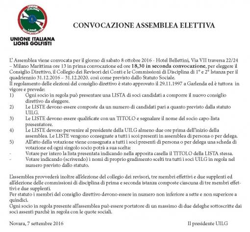 CONVOCAZIONE ASSEMBLEA ELETTIVA DELLA U.I.L.G.